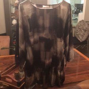 Chico's Satin top with elastic, tunic style